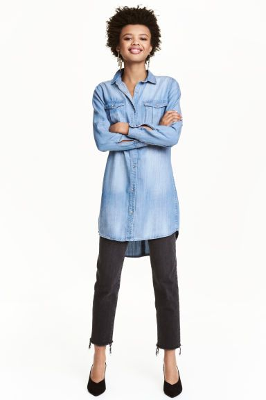 Lange overhemdblouse - Denimblauw - DAMES   H&M NL