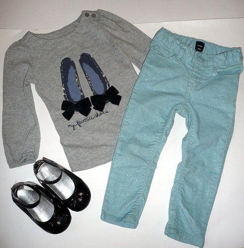 2058a098fd7 Baby Gap Girl Outlet LS Ballet Top Glitter Corduroy Pants EUC 2T ...