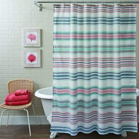Home Gray Shower Curtains Striped Shower Curtains Better Homes