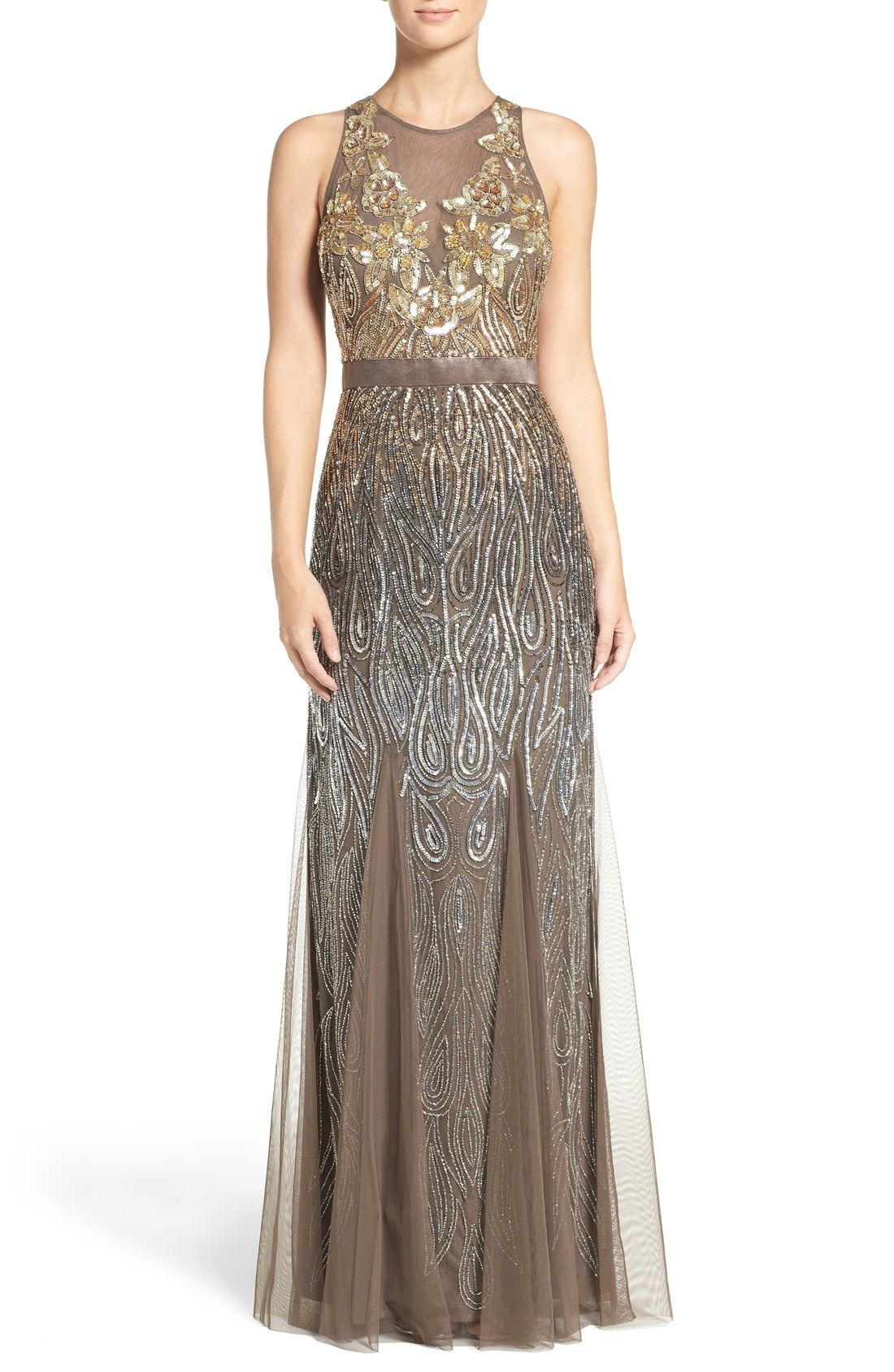 Adrianna Papell Embellished Mesh Mermaid Gown available at #Nordstrom
