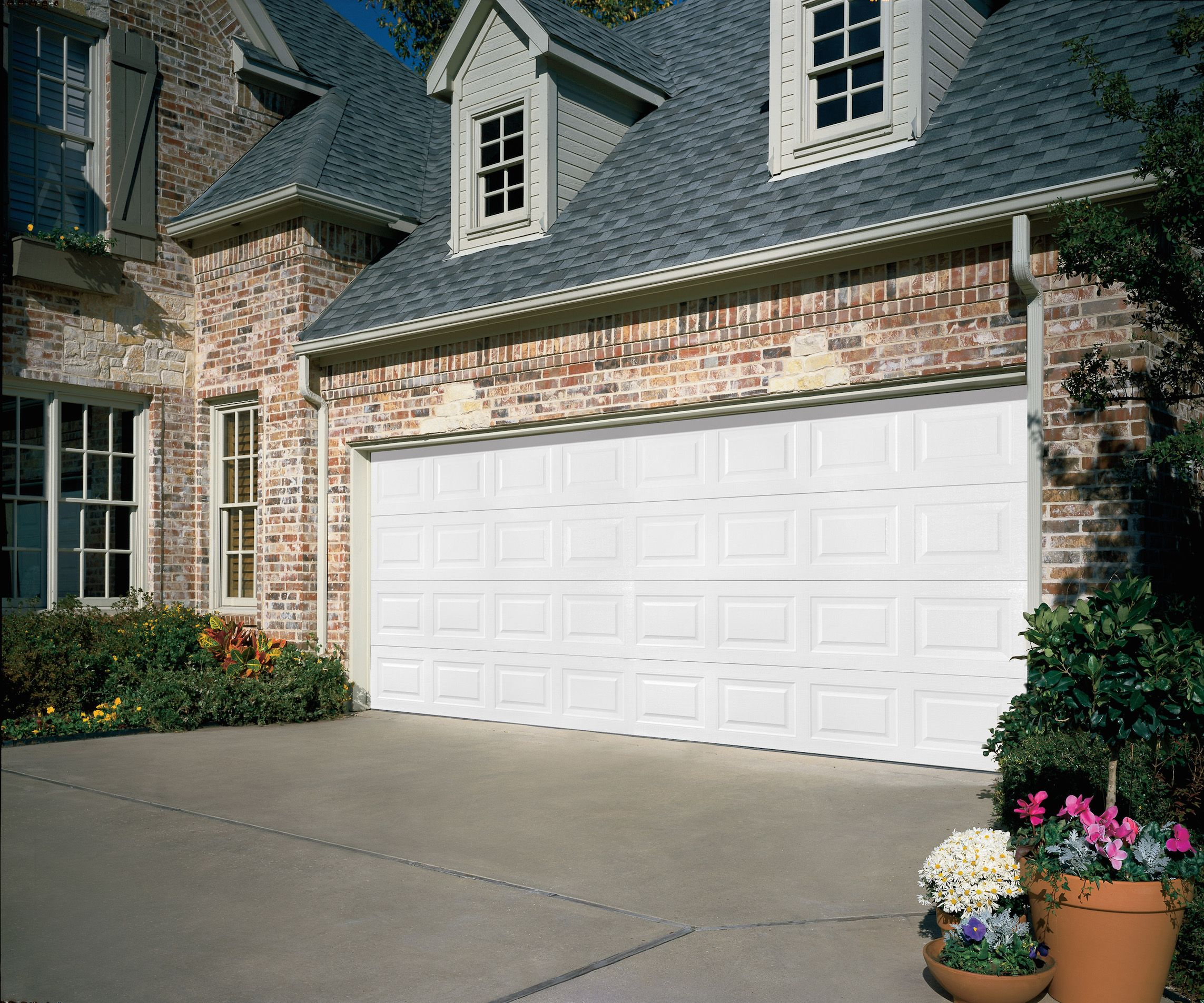 Overhead Dooru0027s Traditional Steel Residential Garage Door In White. Double  Wide Garage Door.
