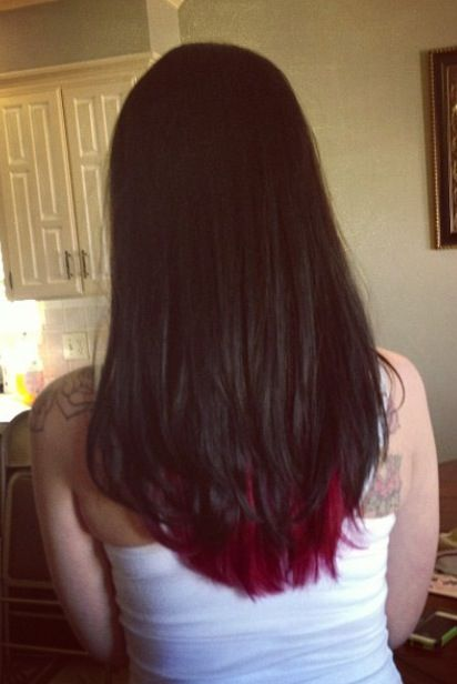 Dark Brown With Bright Red Underneath So Pretty And Edgy