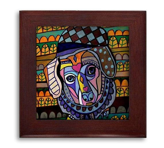 Dachshund Lovers Gift - Doxie Dog Art Mexican Folk Art Ceramic Framed Tile by Heather Galler - Ready To Hang Tile Frame Gift