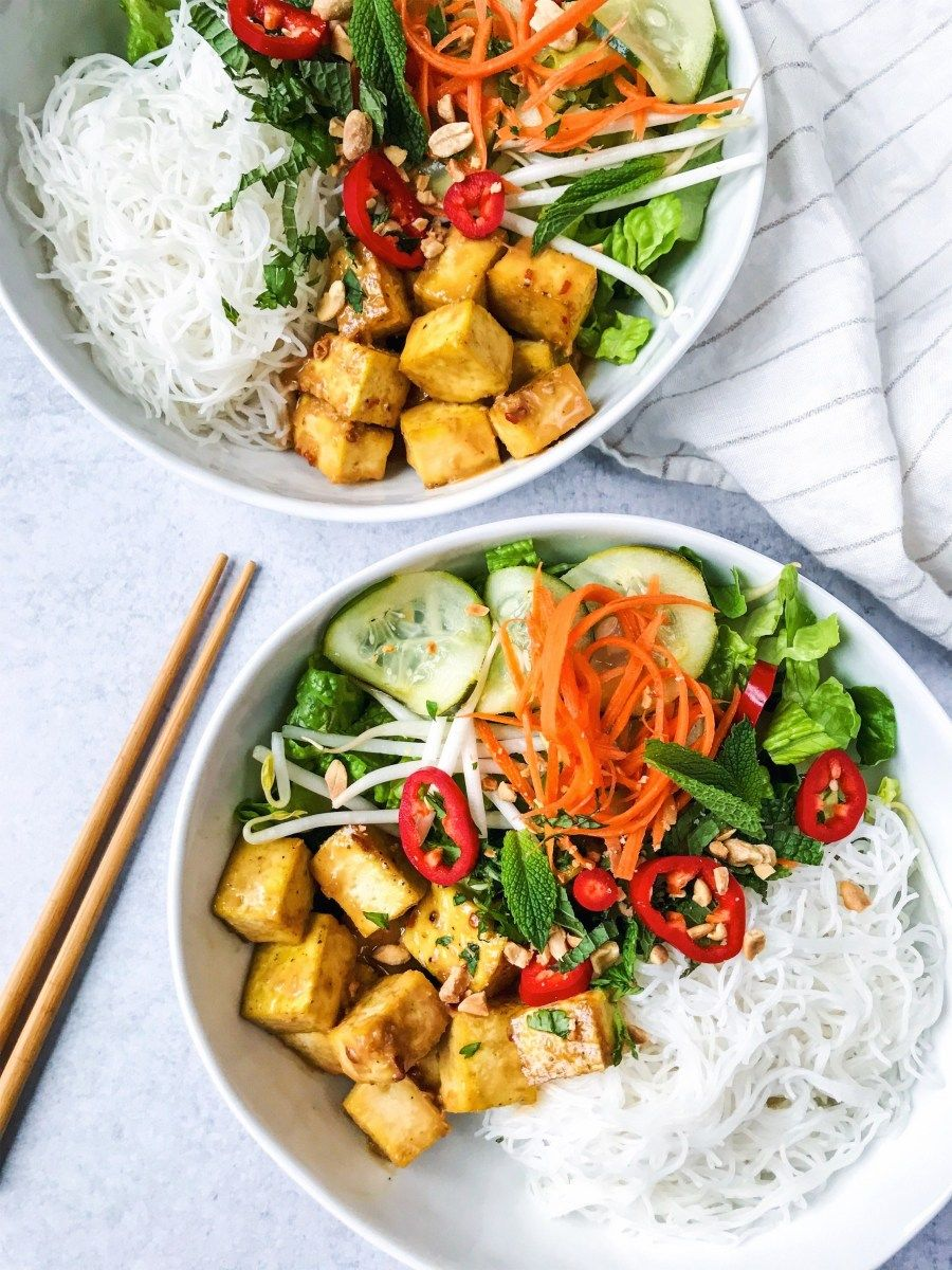 Peanut tofu vermicelli rice noodle bowls with quick