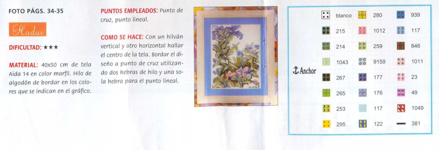 Cross stitch - fairies: Forget-me-not fairy - Cicely Mary Barker (chart - colors)
