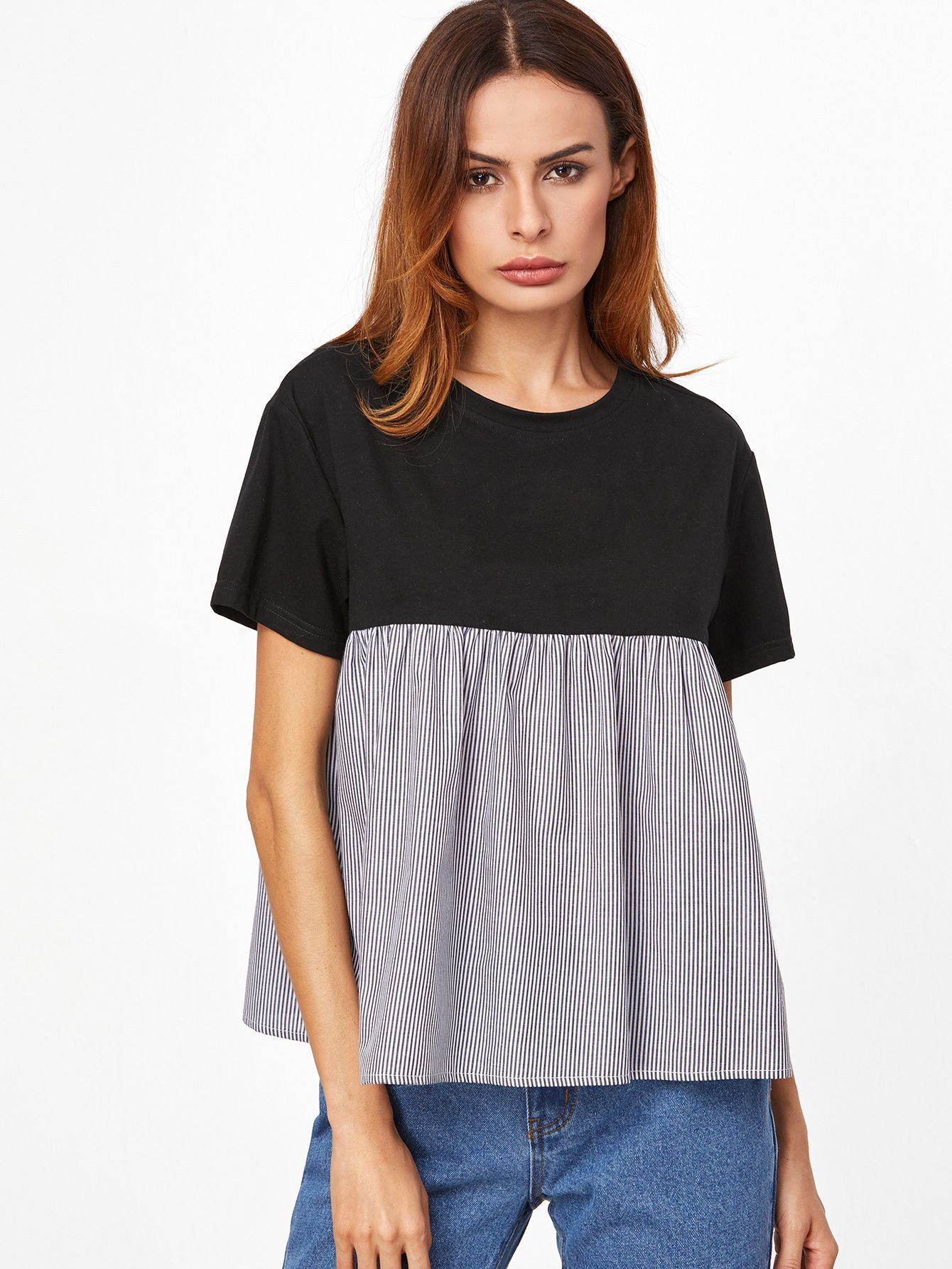 Tshirt poupée à rayures élancé contrasté shirt jacket fashion