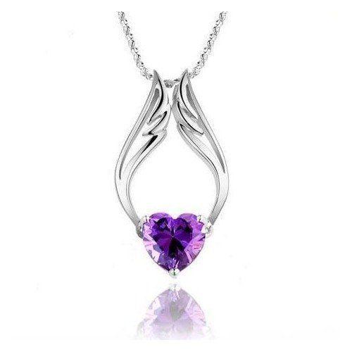 925 Sterling Silver Rhodium Plated Heart Amethyst Diamond Heart Pendant