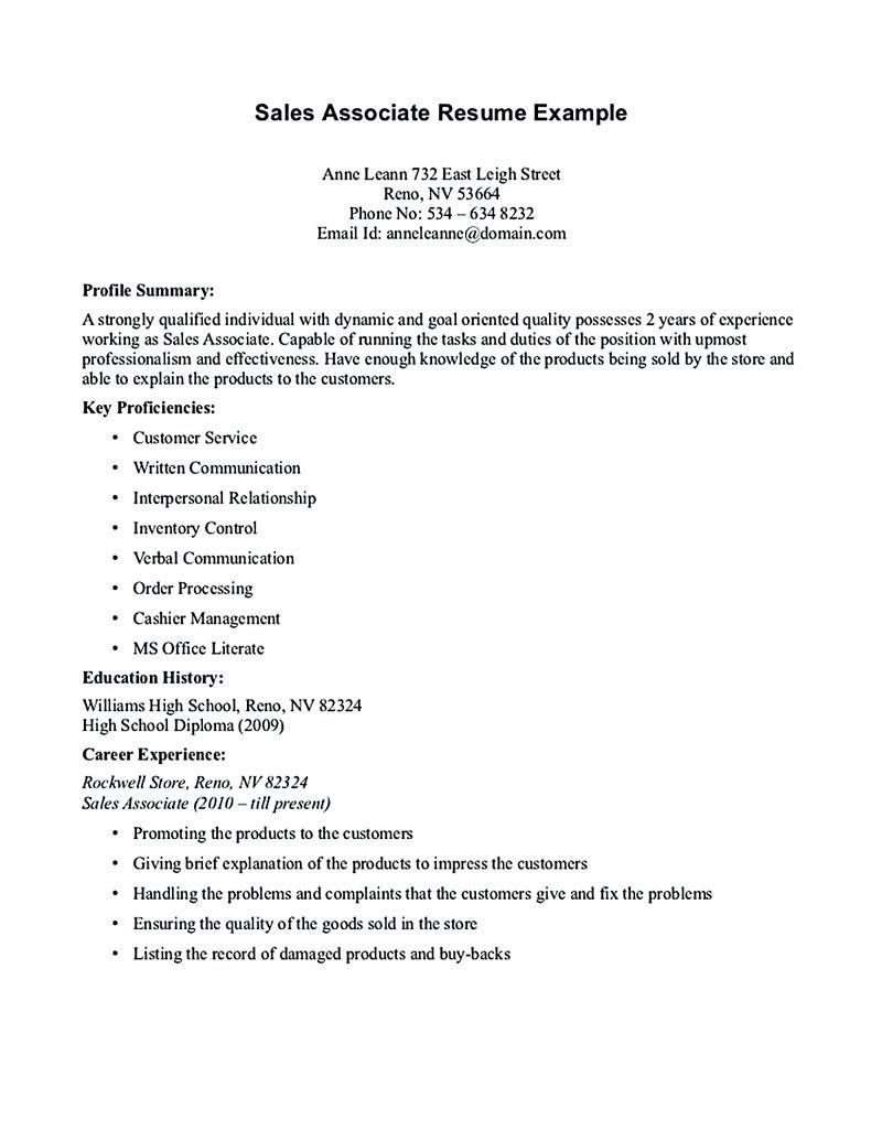 Sales associate resume is dedicated for those professional having ...
