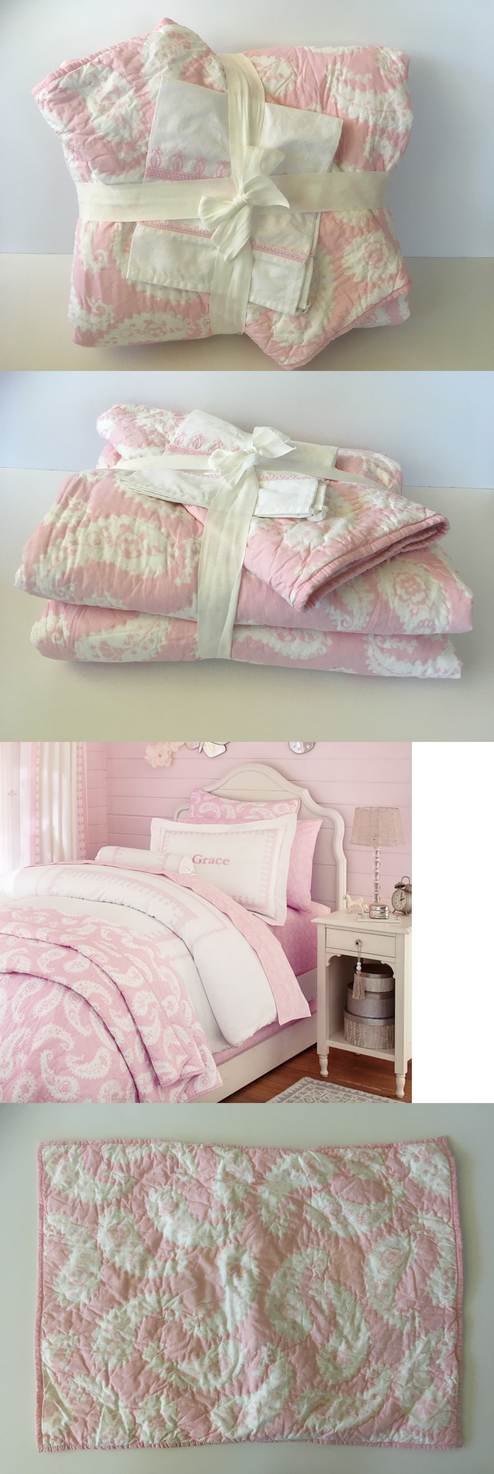 Pillow Shams 16: 16 Pc Pottery Barn Kids Nora Paisley Twin Quilt ...