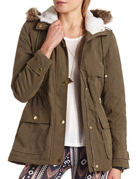 Hooded Cinch-Waist Jacket: Charlotte Russe