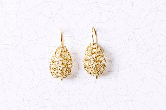 Gold lace tear earrings. Romantic lace dangle earrings. Tear lace earrings. Gold dainty designer drop earrings. bridal earrings. great gift #romanticlace
