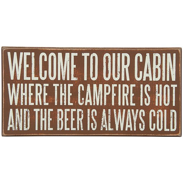 Primitives by Kathy \'Our Cabin\' Box Sign ($15) ❤ liked on Polyvore ...