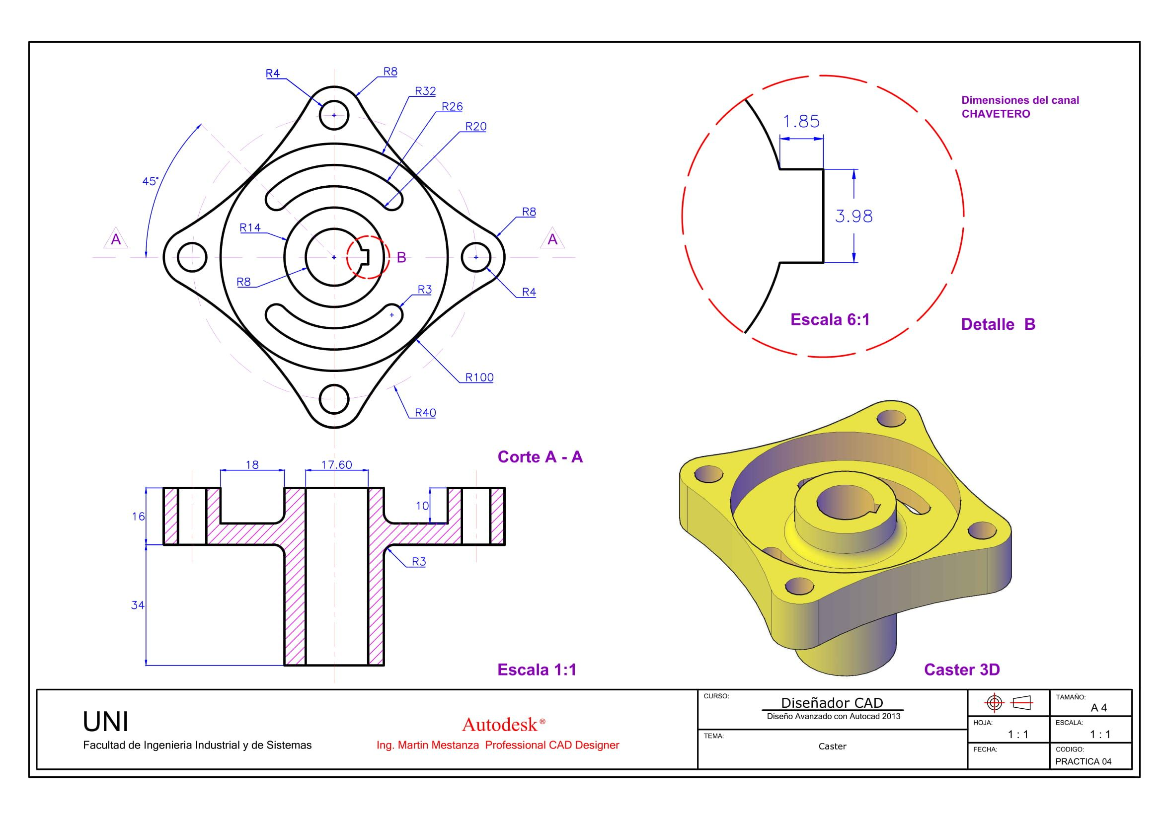 Practica De Calificada N 4 Autocad Isometric Drawing Solidworks Tutorial Technical Drawing
