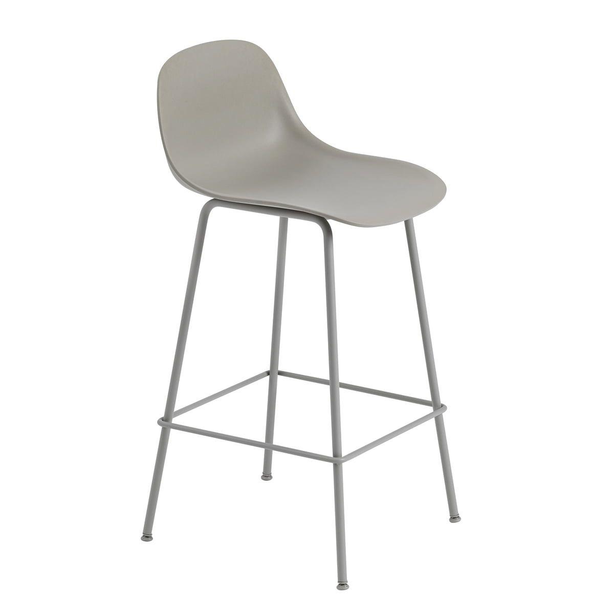 Sedie Alte Da Bar Design muuto - fiber bar stool tube base with backrest h 65 cm