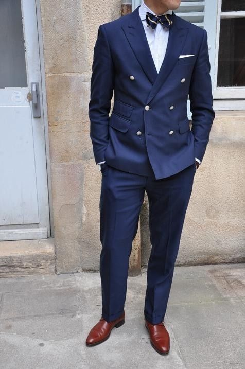 Basic Navy Double Breasted Suit Styled Appropriately If You Choose