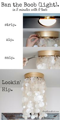 Info's : Those builder-grade flush mount lights are hard to avoid. BAN THE BOOBS in 5 minutes, without tools! Two EASY DIY light tutorials in this DIY blog post.