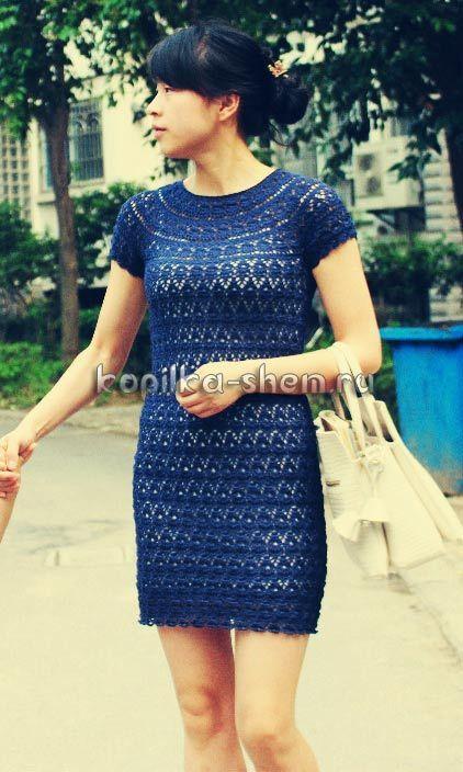 схема вязания крючком блузы для женщины с круглой кокеткой