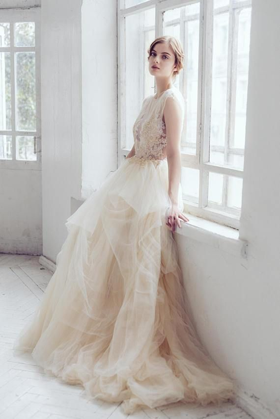 Long Wedding Dress, Tulle Wedding Dress, Applique Wedding