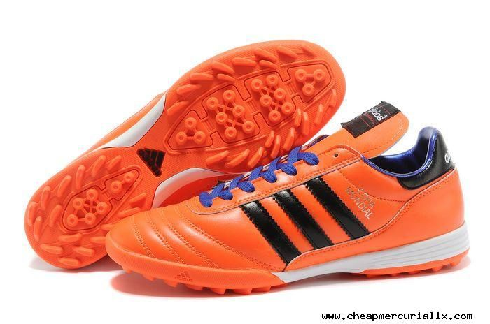 detailed look 6dca2 053d9 2014 Brazil World Cup Adidas Copa Mundial TF Soccer Shoes Orange Blue  Football Boots