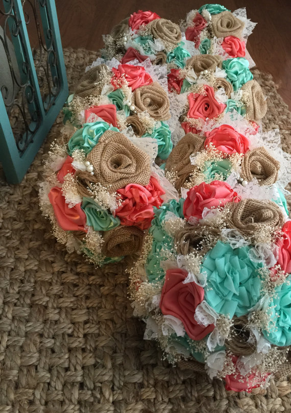 Beautiful handmade coral silk mint silk and natural burlap bouquets beautiful handmade coral silk mint silk and by burlapandlaceplace mightylinksfo