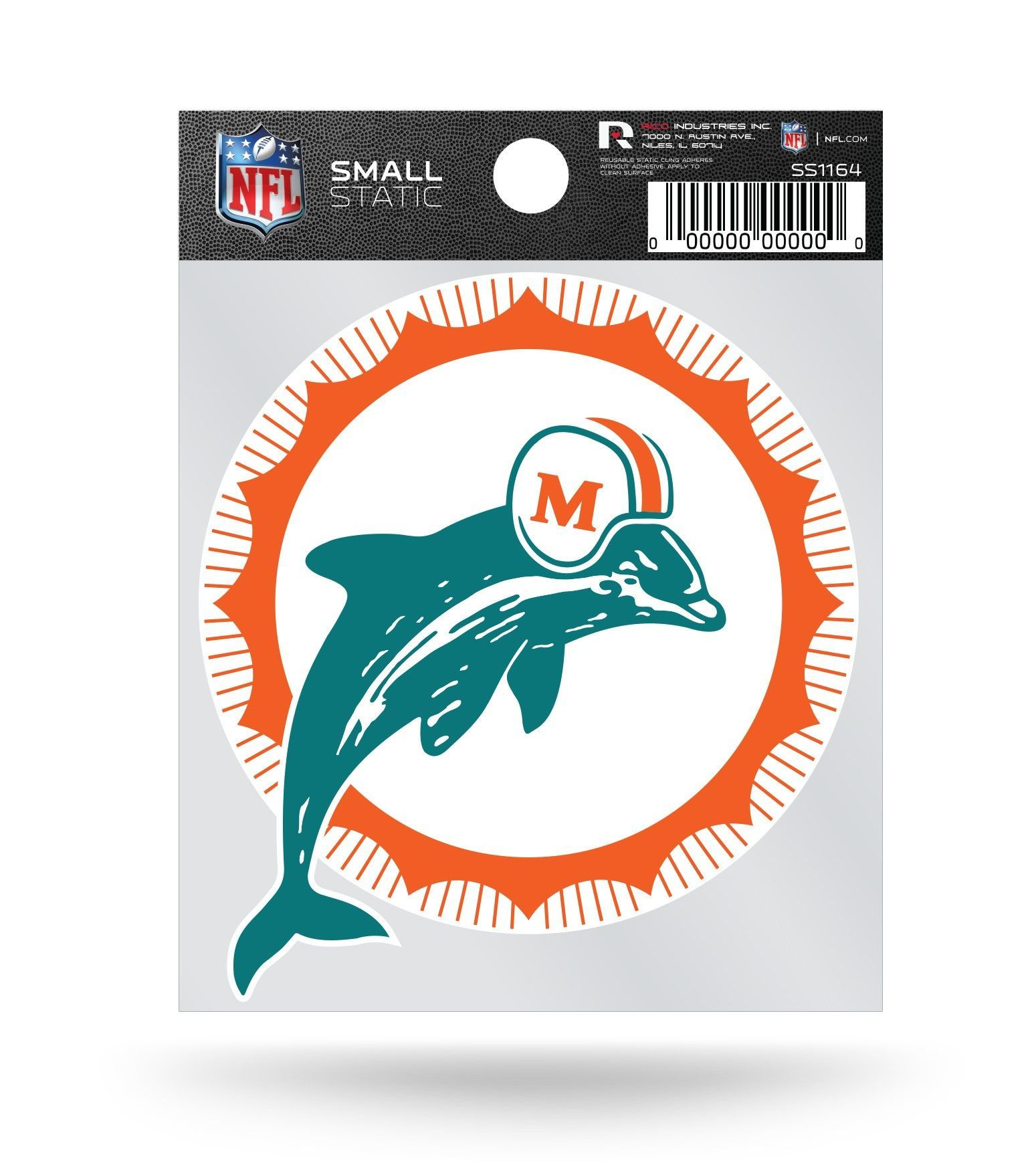 890b4d75 Miami Dolphins Retro Logo Static Cling Sticker NEW!! Window or Car ...