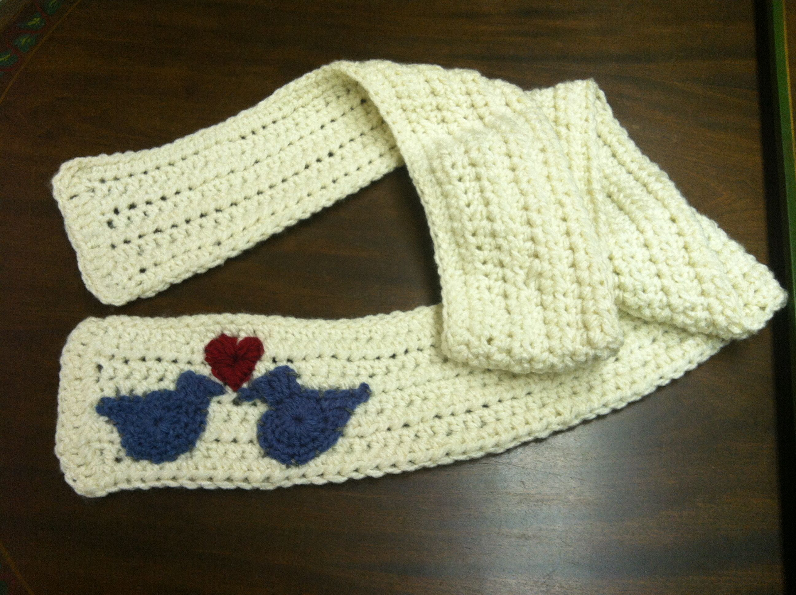 White Half Double Crochet Scarf With Blue Birds And A Heart Given Diagram On Pinterest Away As