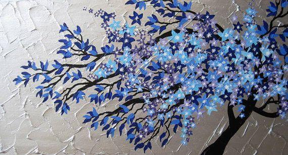 Cherry Blossom Tree Trees Large Abstract Art Zen By Sheerjoy 150 00 Arboles En La Pared Decoracion De Unas Tatuajes Unicornio