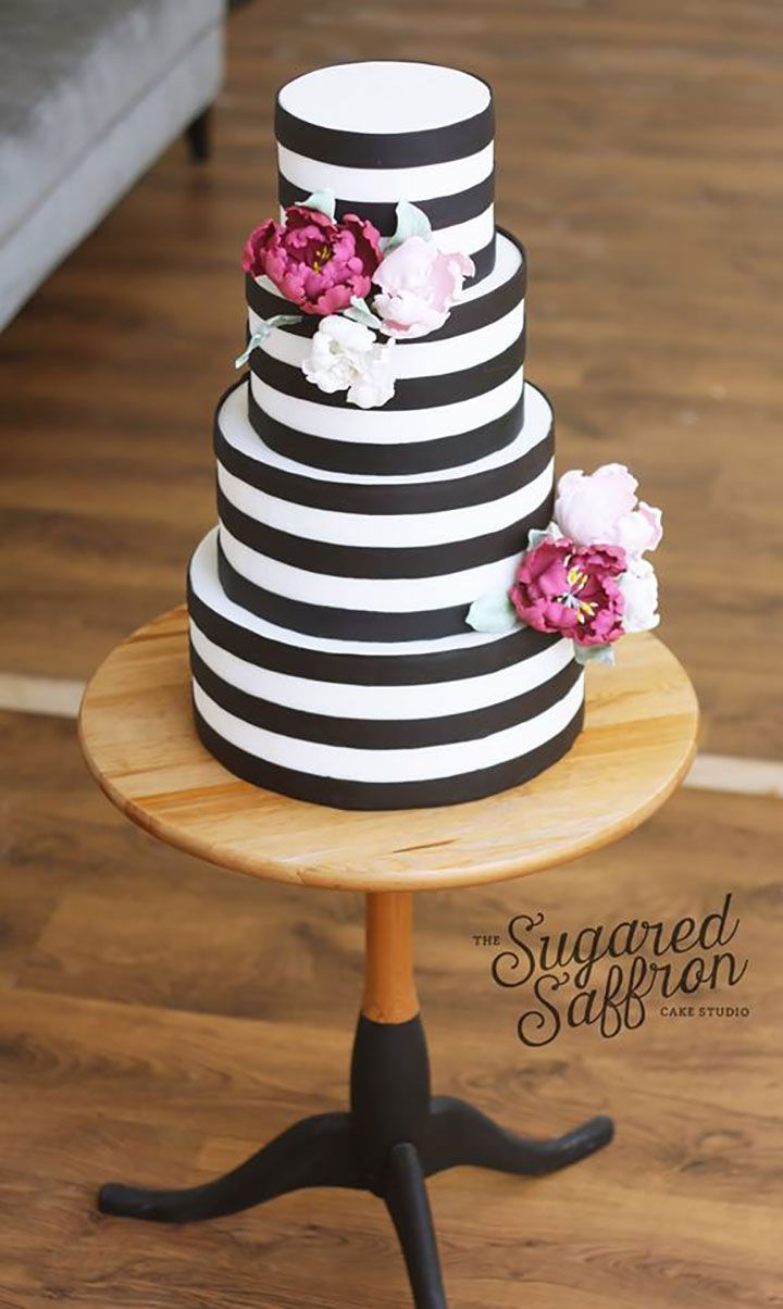 10 original wedding cakes by the sugared saffron cake studio bold black and white stripe wedding cake accented with magenta pale pink and white sugar dhlflorist Image collections
