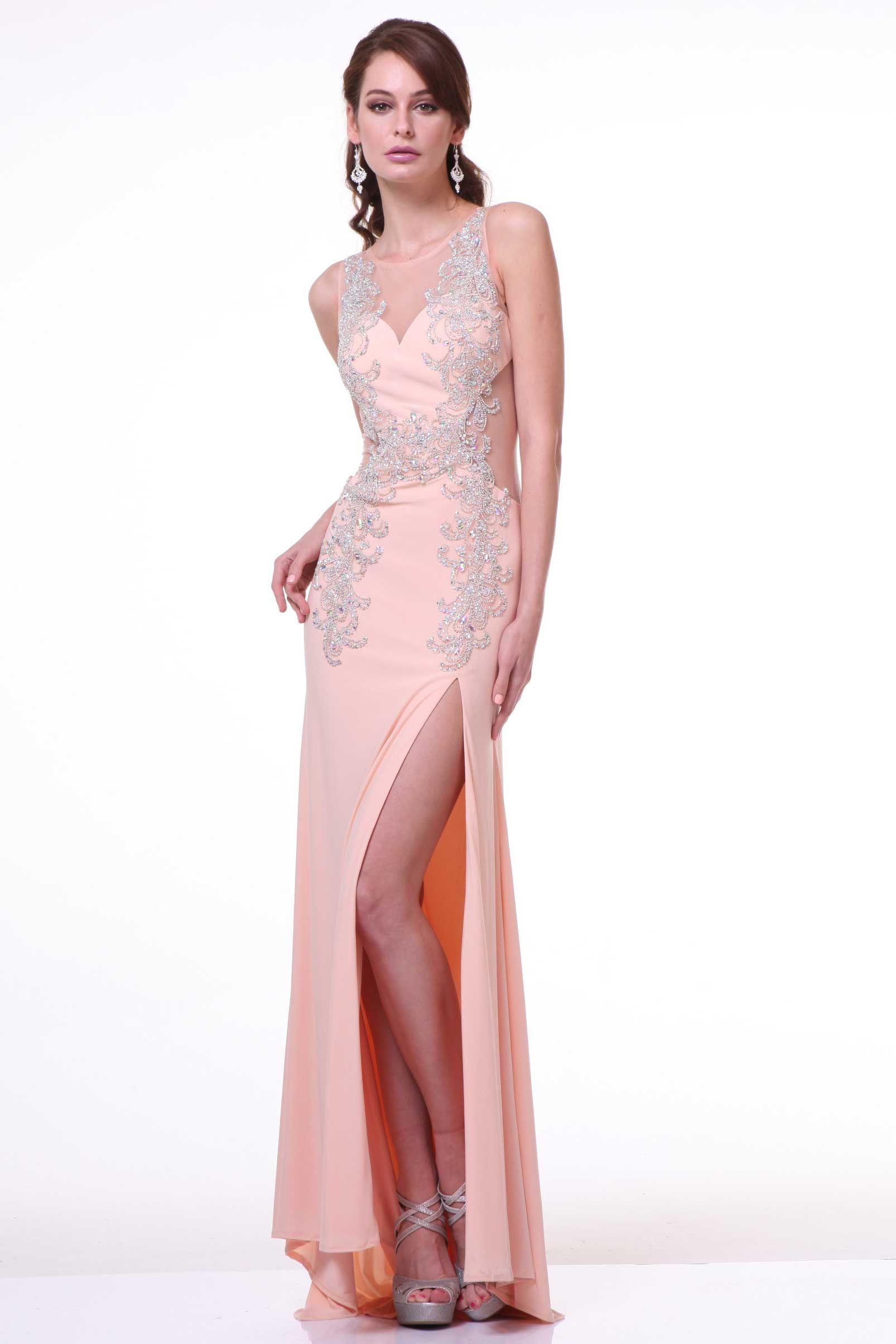 Evening dress with illusion back cd floor length sheath shape