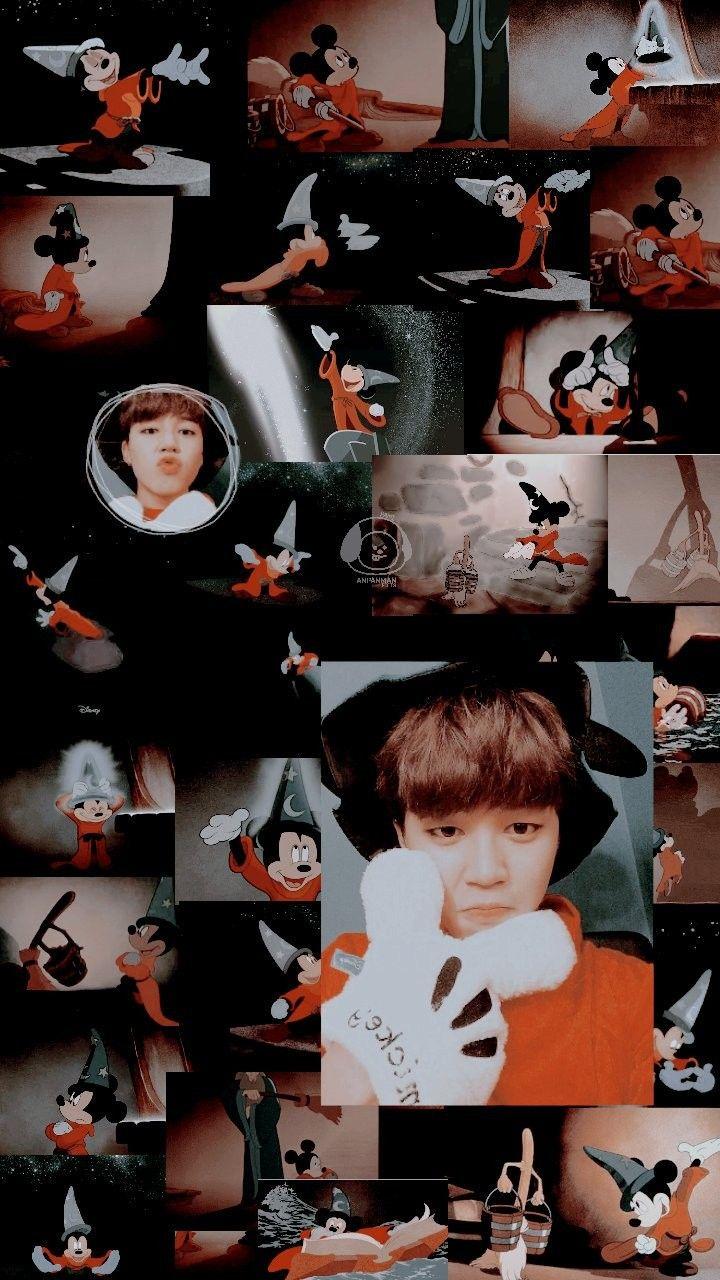 Jimin Feat Mickey Mouse Aesthetic Wallpaper Credits To Twitter Anpanedits C Jimin Bts jimin wallpaper mickey mouse