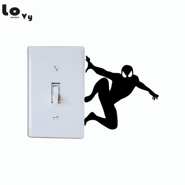Best Creative Spiderman Silhouette Light Switch Sticker Cartoon 400 x 300