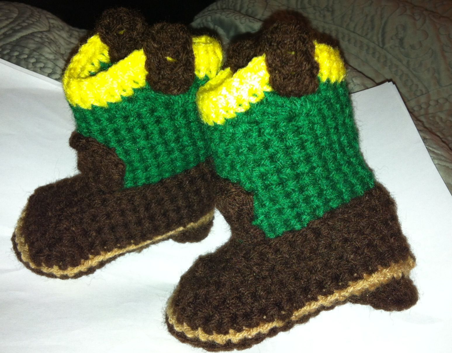 John Deere Green newborn cowboy boots! Pattern is free from crochet ...