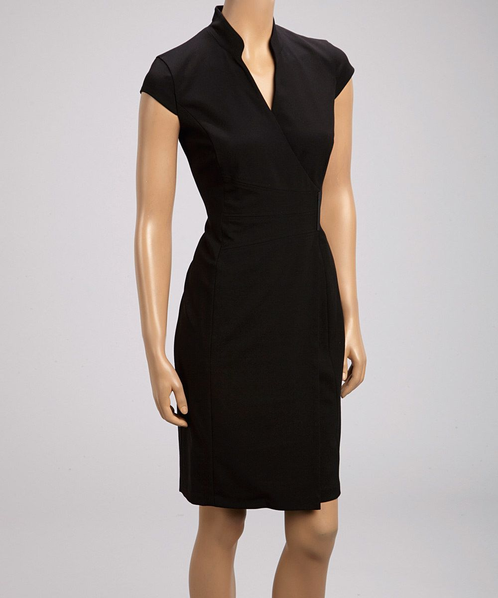 Black wrap dress calvin klein beautiful dresses pinterest