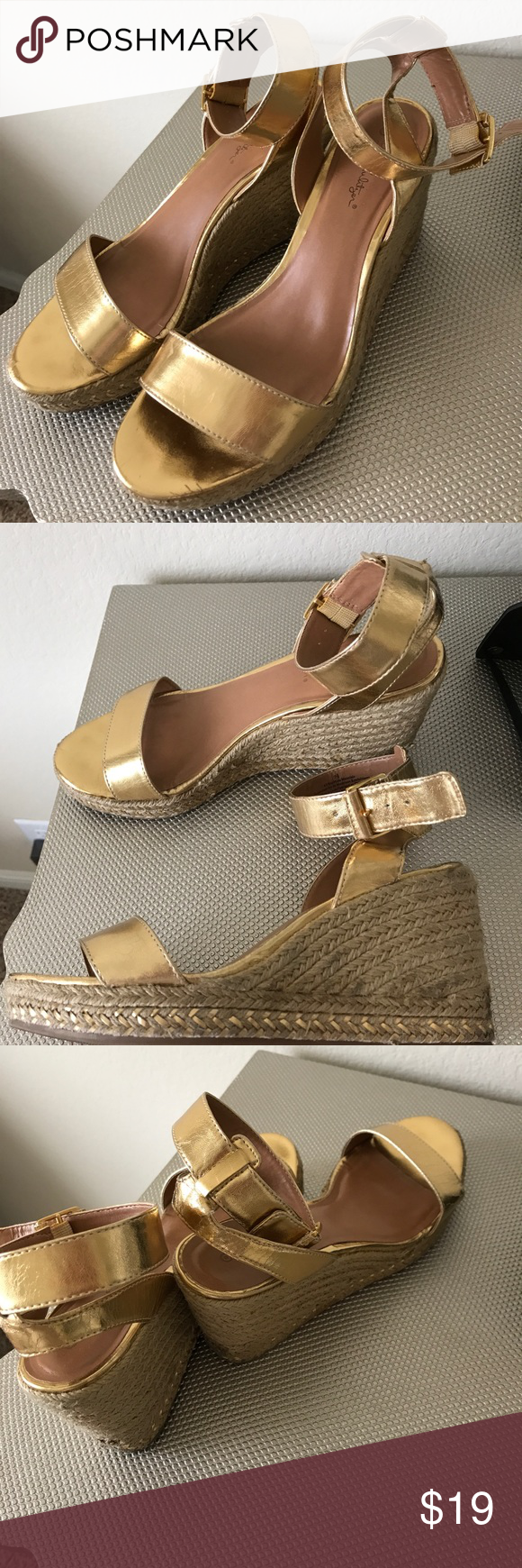 c05933bb671 Lilly for Target gold wedge sandals Gold wedge sandals from the Lilly for  Target cspsule collection. Good condition Lilly Pulitzer for Target Shoes  Wedges