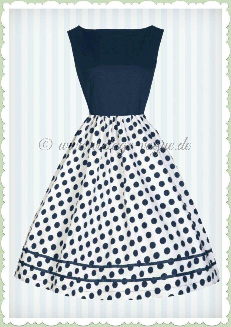 Lindy Bop 50er Jahre Retro Petticoat Punkte Kleid - Audrey - Navy ...