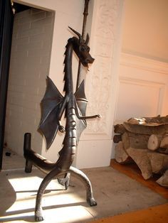 dragon fireplace andirons google search fireplace woodstove rh pinterest com custom made wrought iron fireplace screens Large Wrought Iron Fireplace Screen