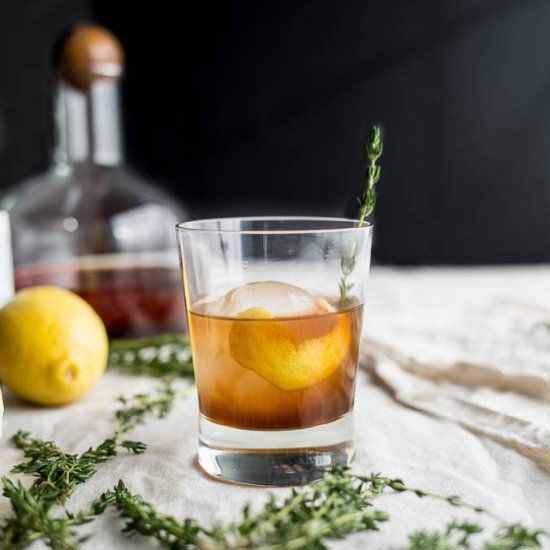 Bourbon Thyme Cocktail (refined sugar-free)