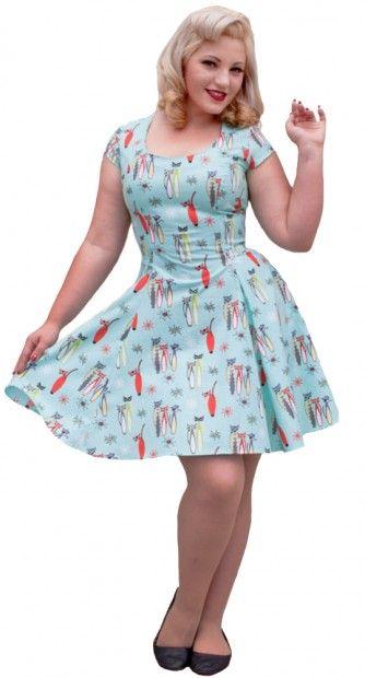 This retro atomic kittens dress is so adorable! #blamebetty #lovecats #retrodress