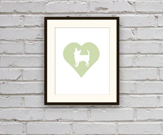 Chihuahua Cameo Silhouette Art Print  Mint Green by MotifMotifShop