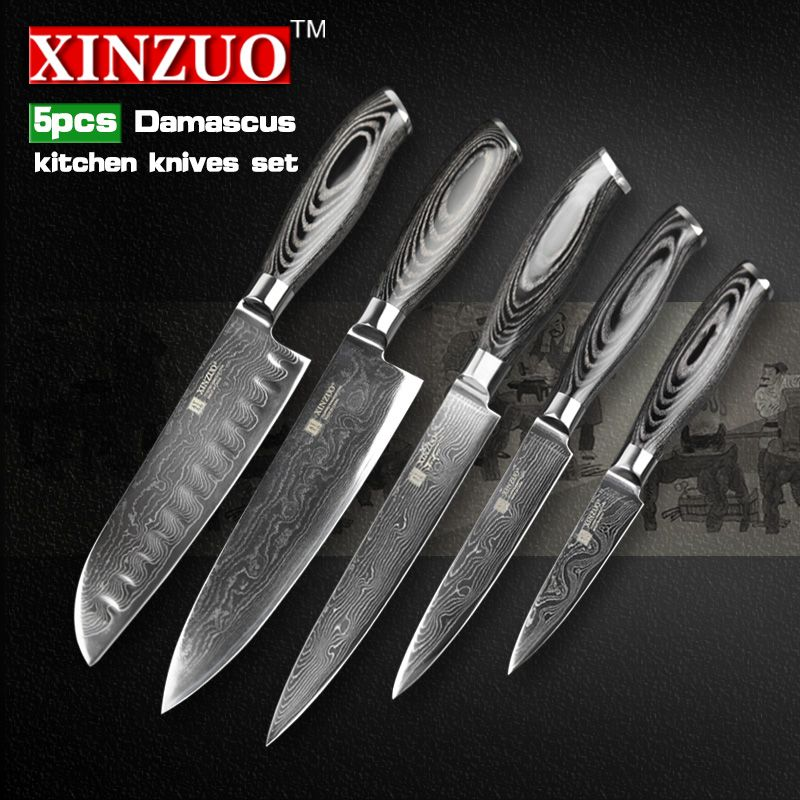 Reviews Xinzuo 5 Pcs Kitchen Knife Set 73 Layers Damascus Kitchen
