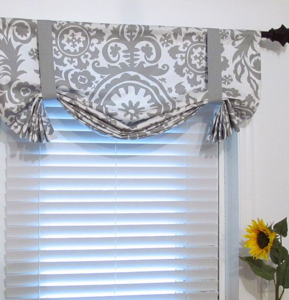 Made To Order Suzani Storm Grey Tie Up Curtain Valance