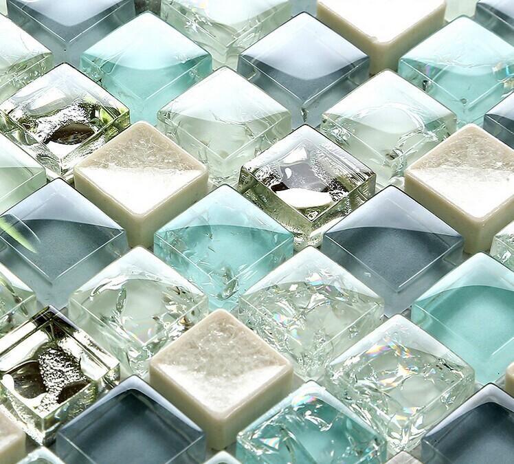 ceramic glass tile backsplash kitchen crackle crystal glass wall