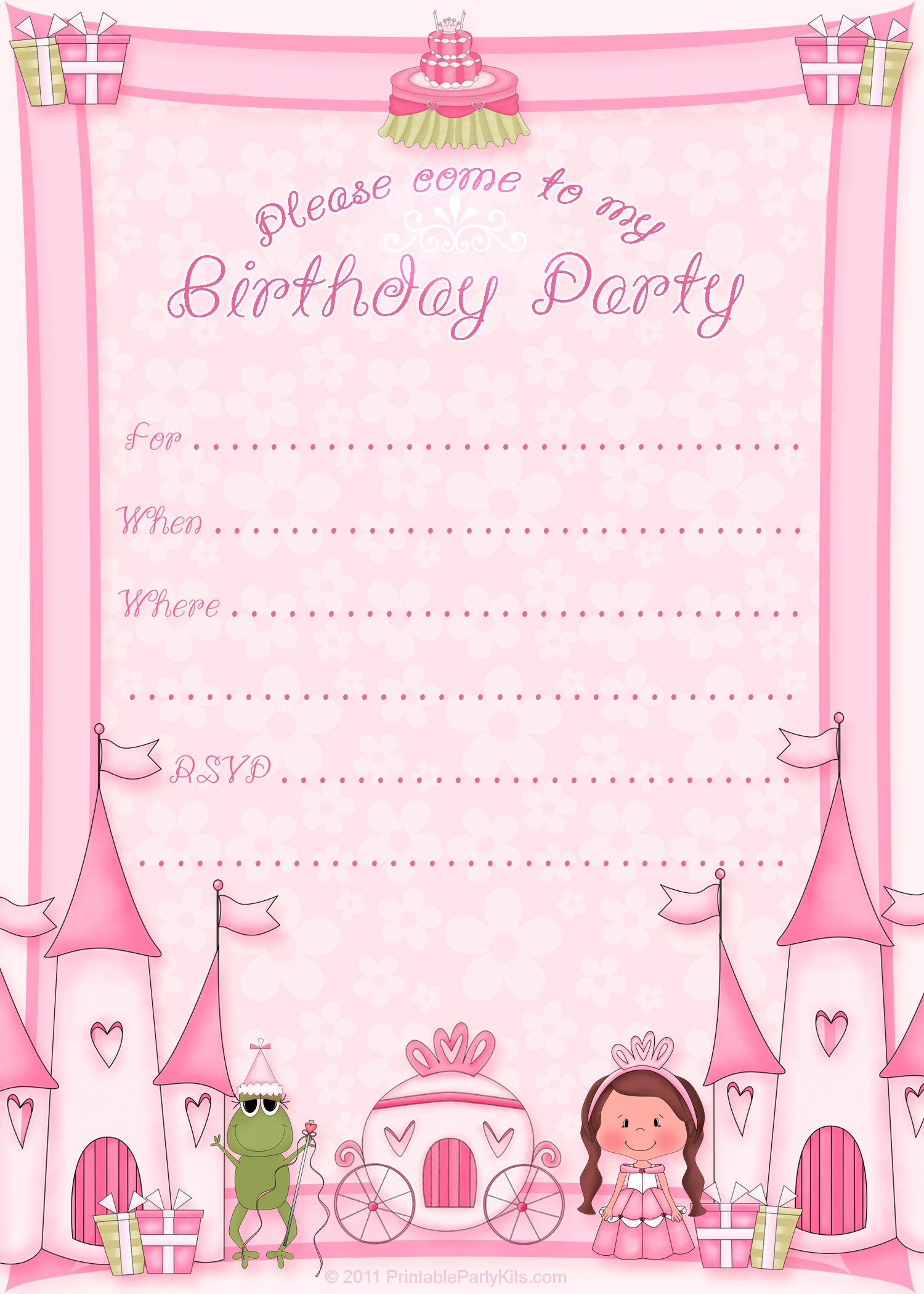 Free printable princess birthday invitation template cupcake