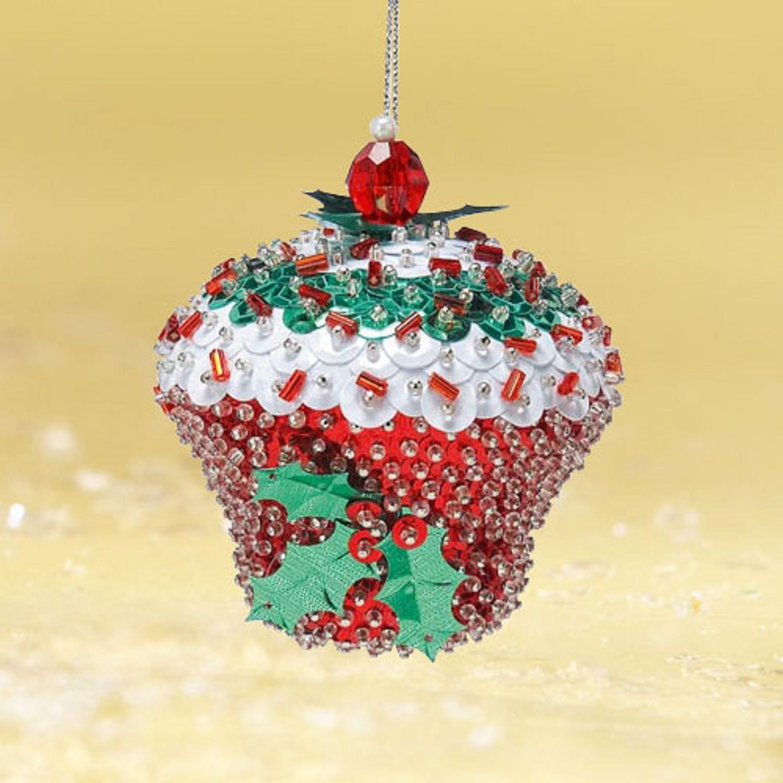Bead & sequin cupcake ornament | Beaded christmas ...