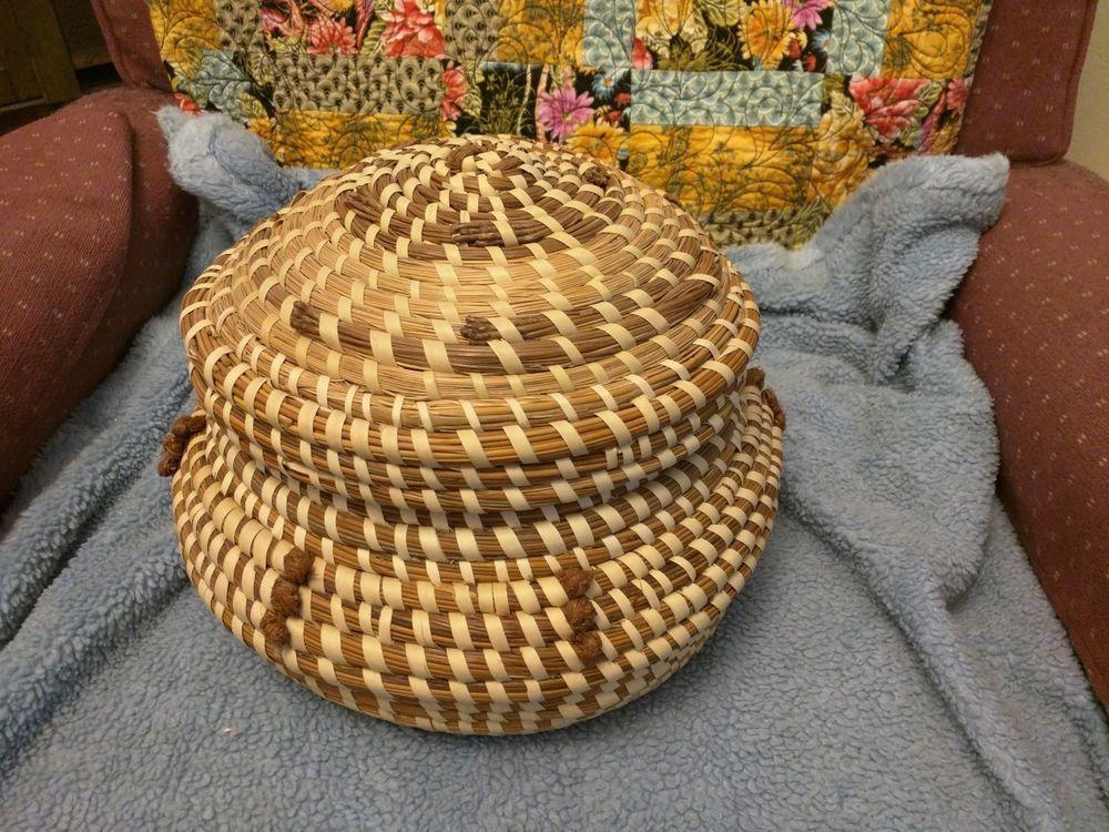 Lg sweetgrass charleston basket lid knots basket