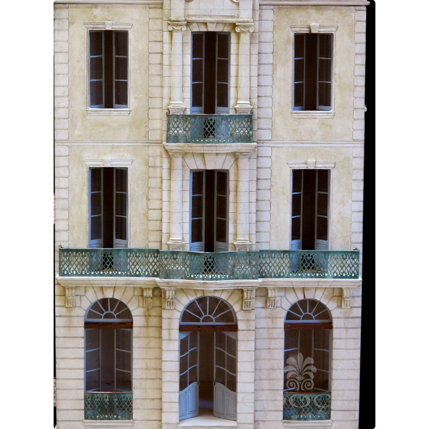 """rare and masterfully crafted wooden hand painted doll house/cabinet of a stately french chateau """"Chateau Blanche"""" by famed artisans Eric & Carole Lansdown"""