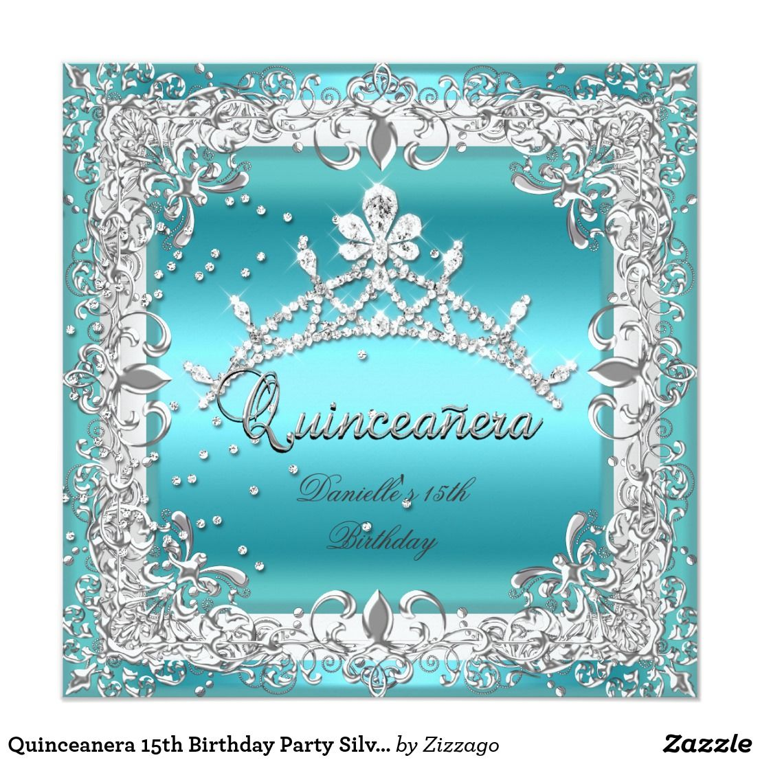 Quinceanera 15th Birthday Party Silver Teal Card   15th birthday ...