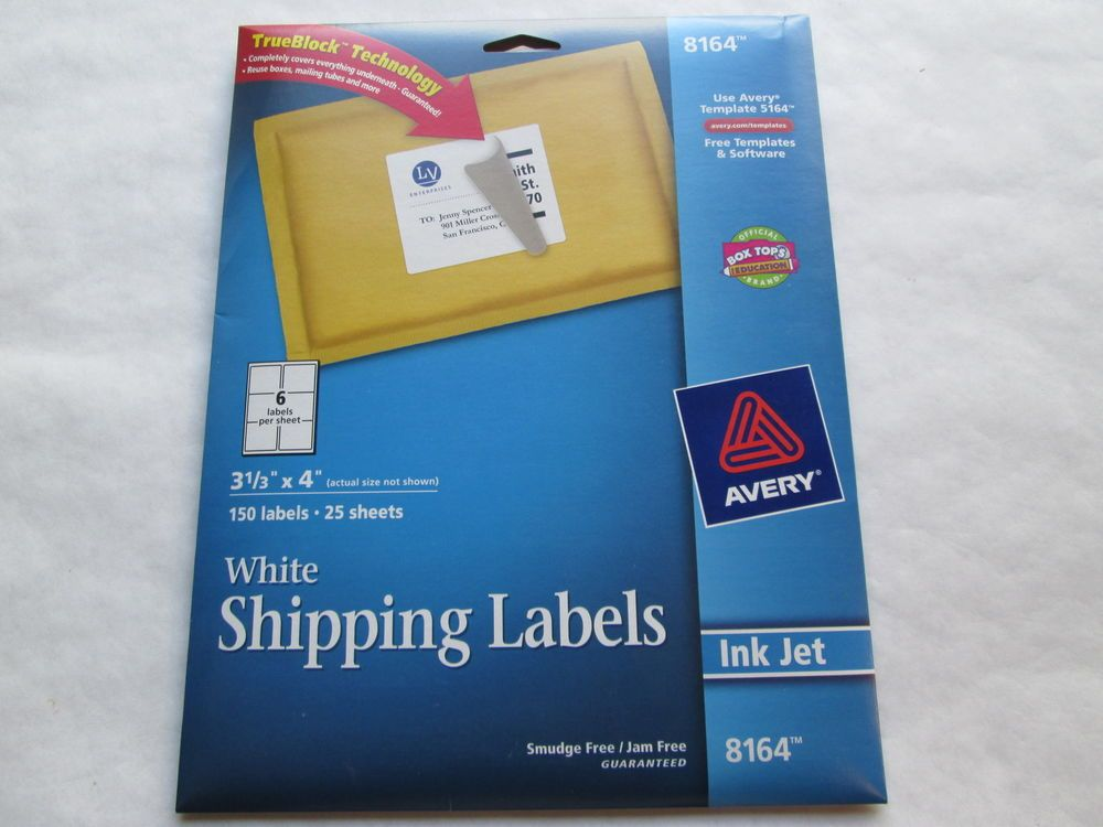 AVERY #8164 WHITE SHIPPING LABELS 150 LABELS 25 SHEETS INK JET - free mailing label