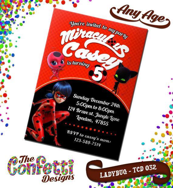 Miraculous Ladybug Invitation Miraculous Ladybug Birthday – Lady Bug Birthday Invitations