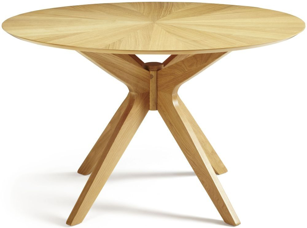 serene bexley oak dining table round fixed top - Round Oak Dining Table